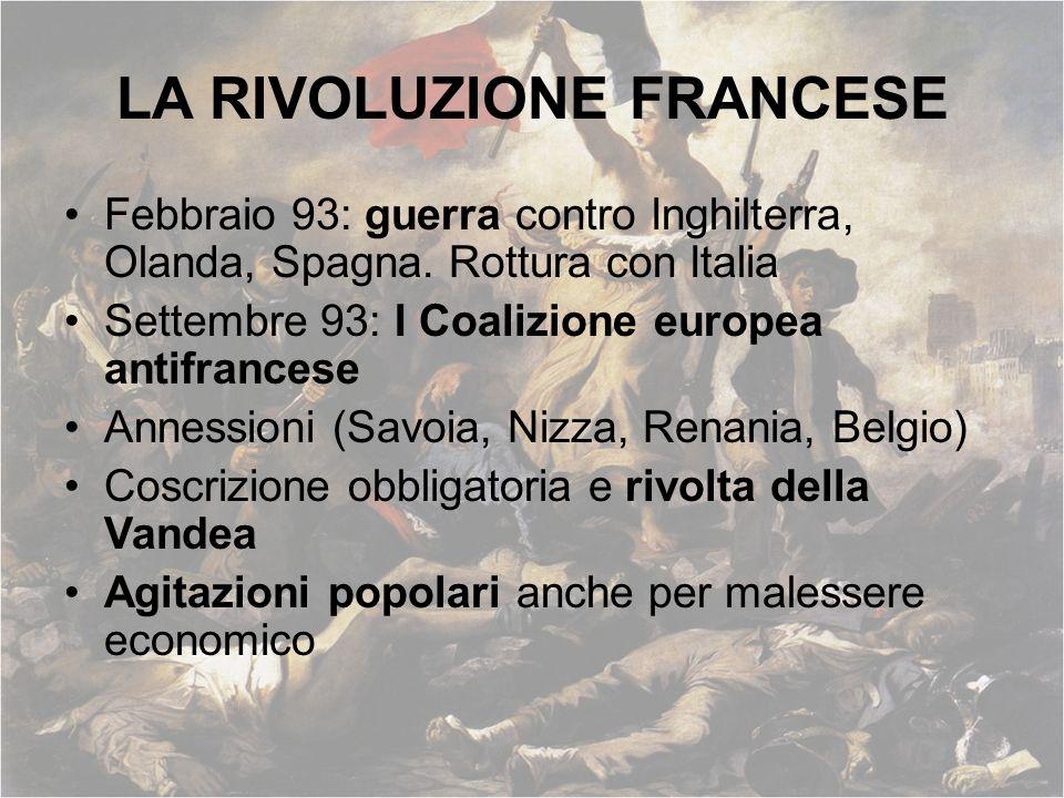 LA RIVOLUZIONE FRANCESE Febbraio 93: guerra contro Inghilterra, Olanda, Spagna. Rottura con Italia Settembre 93: I Coalizione europea antifrancese Ann