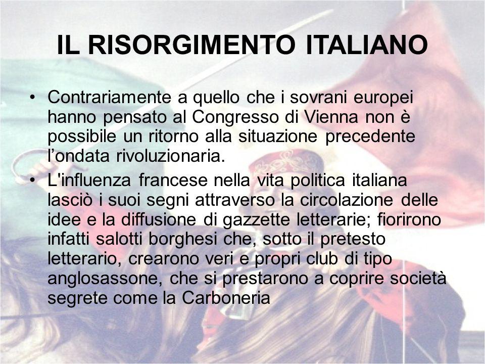 IL RISORGIMENTO ITALIANO Contrariamente a quello che i sovrani europei hanno pensato al Congresso di Vienna non è possibile un ritorno alla situazione