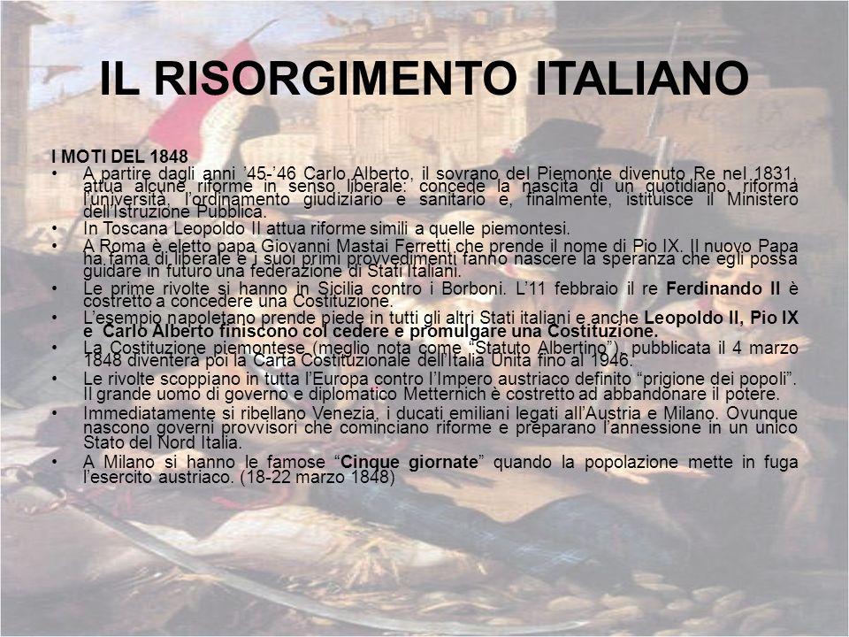IL RISORGIMENTO ITALIANO I MOTI DEL 1848 A partire dagli anni 45-46 Carlo Alberto, il sovrano del Piemonte divenuto Re nel 1831, attua alcune riforme