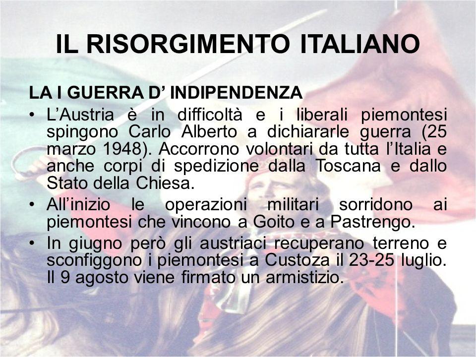 IL RISORGIMENTO ITALIANO LA I GUERRA D INDIPENDENZA LAustria è in difficoltà e i liberali piemontesi spingono Carlo Alberto a dichiararle guerra (25 m