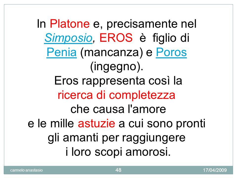 17/04/2009 carmelo anastasio 49 IL SIMPOSIO di P L A T O N E