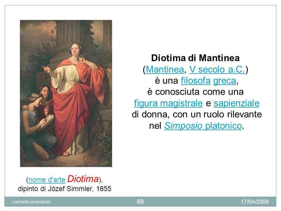 69 Socrate riferisce il discorso della Sacerdotessa Diotima: Amore non è un dio 17/04/2009 carmelo anastasio