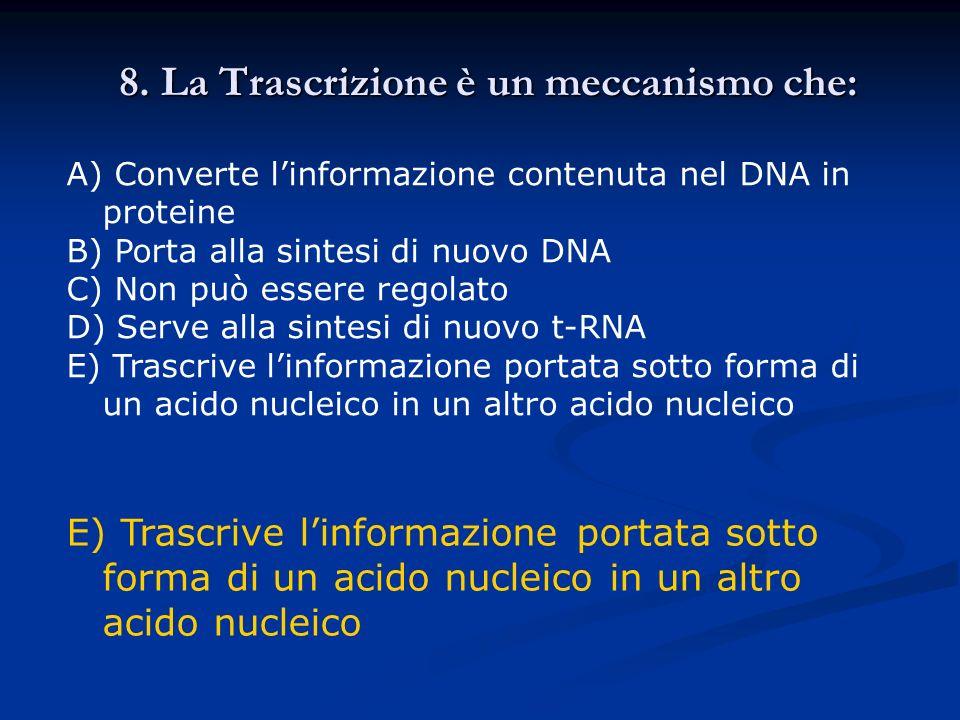 8. La Trascrizione è un meccanismo che: A) Converte linformazione contenuta nel DNA in proteine B) Porta alla sintesi di nuovo DNA C) Non può essere r