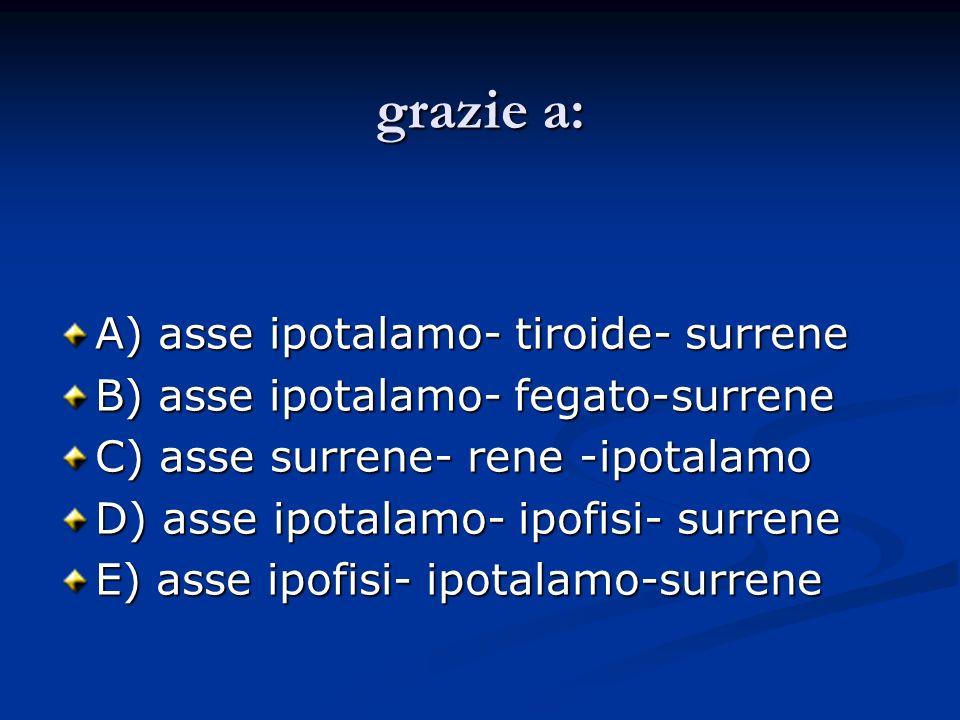 grazie a: A) asse ipotalamo- tiroide- surrene B) asse ipotalamo- fegato-surrene C) asse surrene- rene -ipotalamo D) asse ipotalamo- ipofisi- surrene E
