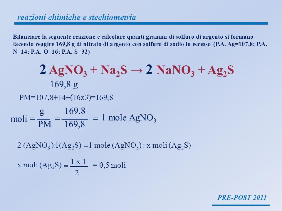 PRE-POST 2011 reazioni chimiche e stechiometria 2 AgNO 3 + Na 2 S 2 NaNO 3 + Ag 2 S 169,8 g PM=107,8+14+(16x3)=169,8 moli = g PM = 169,8 = 1 mole AgNO