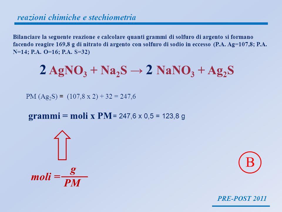 PRE-POST 2011 reazioni chimiche e stechiometria Bilanciare la seguente reazione e calcolare quanti grammi di solfuro di argento si formano facendo rea