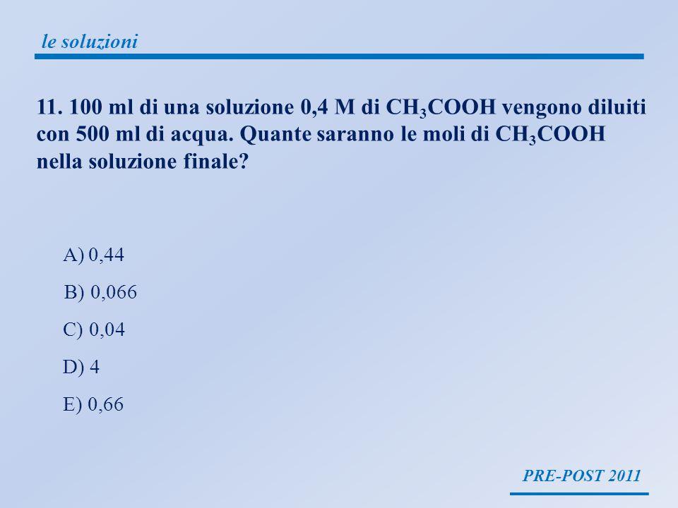 PRE-POST 2011 le soluzioni 11. 100 ml di una soluzione 0,4 M di CH 3 COOH vengono diluiti con 500 ml di acqua. Quante saranno le moli di CH 3 COOH nel