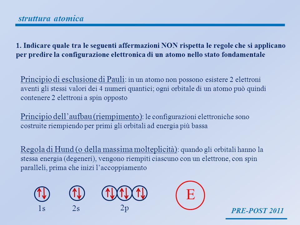 PRE-POST 2011 struttura atomica 1. Indicare quale tra le seguenti affermazioni NON rispetta le regole che si applicano per predire la configurazione e