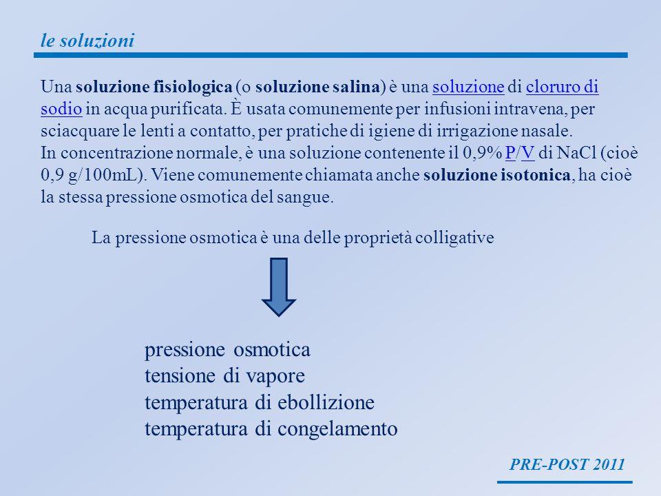 PRE-POST 2011 le soluzioni Una soluzione fisiologica (o soluzione salina) è una soluzione di cloruro di sodio in acqua purificata. È usata comunemente