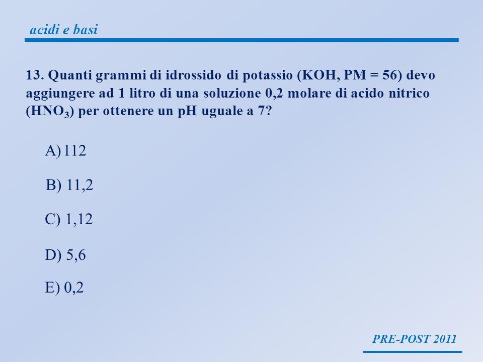 PRE-POST 2011 acidi e basi 13. Quanti grammi di idrossido di potassio (KOH, PM = 56) devo aggiungere ad 1 litro di una soluzione 0,2 molare di acido n