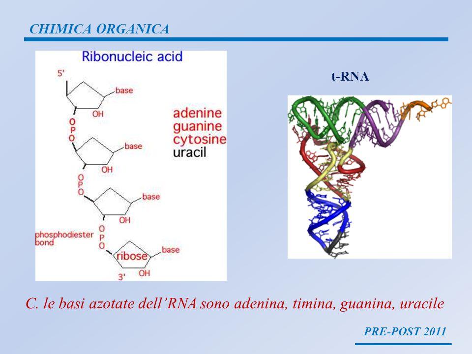 PRE-POST 2011 CHIMICA ORGANICA t-RNA C. le basi azotate dellRNA sono adenina, timina, guanina, uracile
