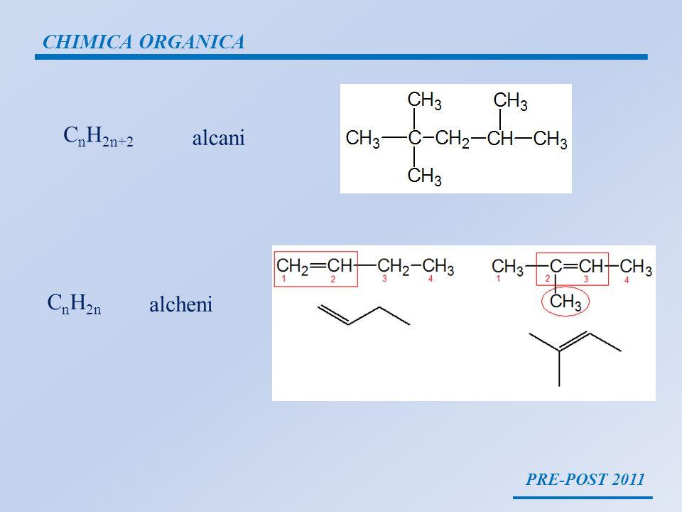 PRE-POST 2011 CHIMICA ORGANICA C n H 2n+2 alcani C n H 2n alcheni