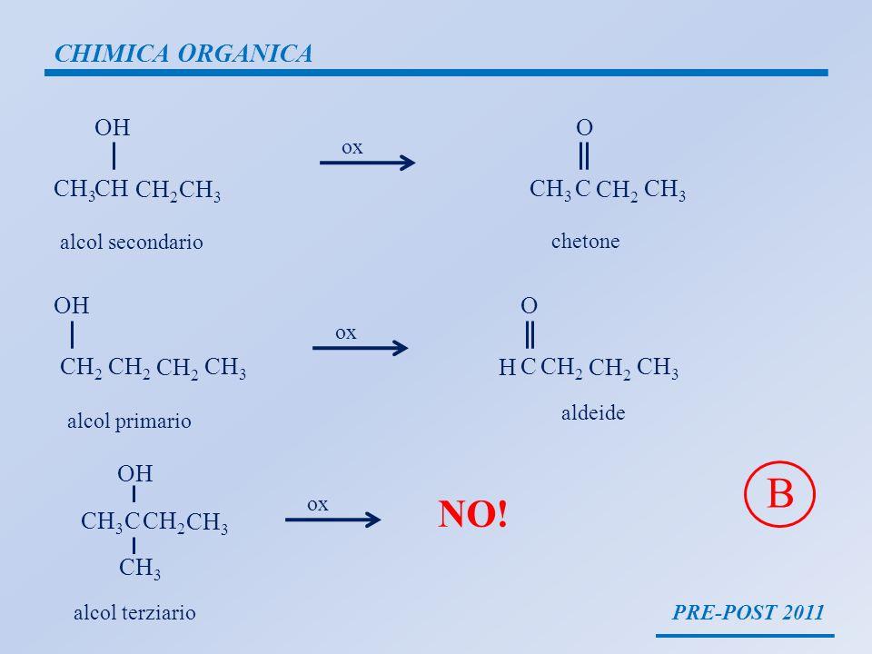 PRE-POST 2011 CHIMICA ORGANICA CH 3 CH CH 2 CH 3 OH CH 3 C CH 2 CH 3 O ox alcol secondario chetone CH 2 CH 3 OH ox CCH 2 CH 3 O H alcol primario aldei