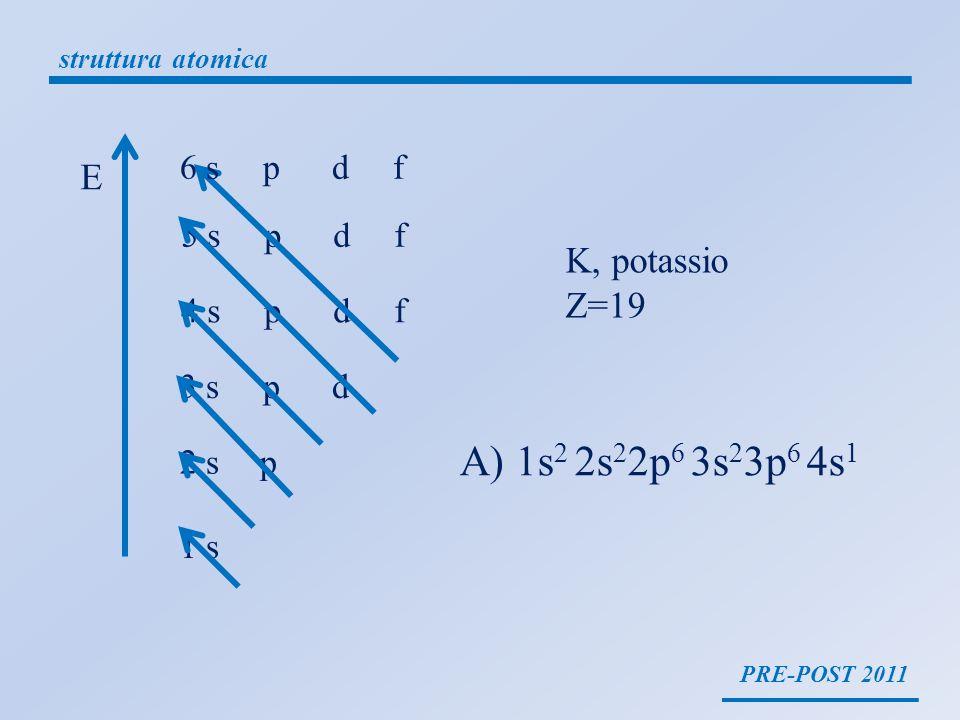 PRE-POST 2011 struttura atomica 1 s 2 s p 3 s p d 4 s p d f 5 s p d f 6 s p d f E K, potassio Z=19 A) 1s 2 2s 2 2p 6 3s 2 3p 6 4s 1