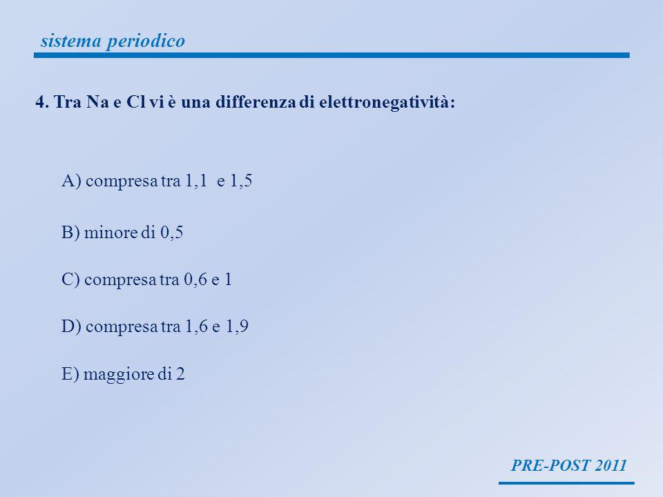 PRE-POST 2011 sistema periodico 4. Tra Na e Cl vi è una differenza di elettronegatività: A) compresa tra 1,1 e 1,5 B) minore di 0,5 C) compresa tra 0,