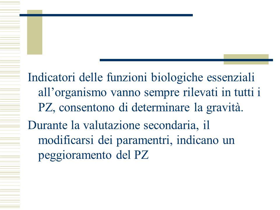 Indicatori delle funzioni biologiche essenziali allorganismo vanno sempre rilevati in tutti i PZ, consentono di determinare la gravità.