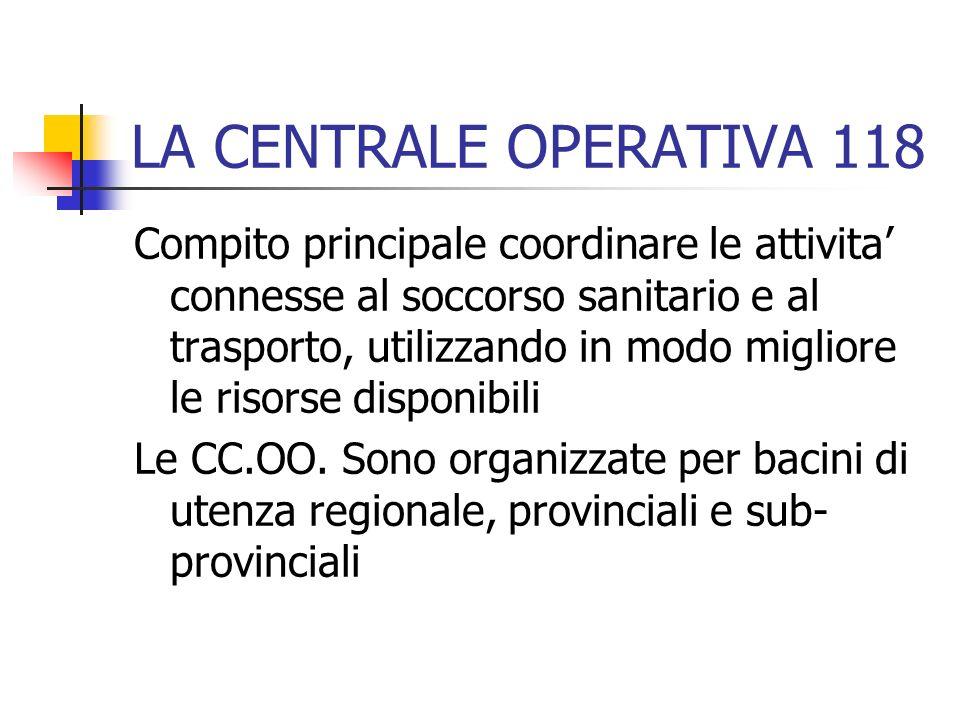 LA CENTRALE OPERATIVA 118 Compito principale coordinare le attivita connesse al soccorso sanitario e al trasporto, utilizzando in modo migliore le ris