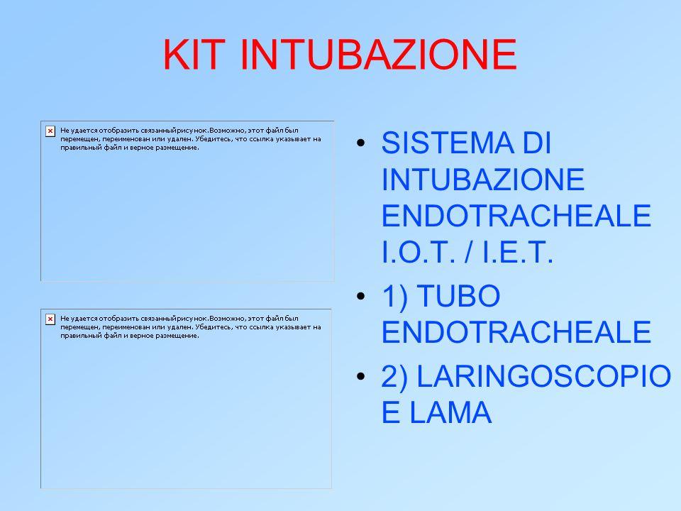 KIT INTUBAZIONE SISTEMA DI INTUBAZIONE ENDOTRACHEALE I.O.T. / I.E.T. 1) TUBO ENDOTRACHEALE 2) LARINGOSCOPIO E LAMA