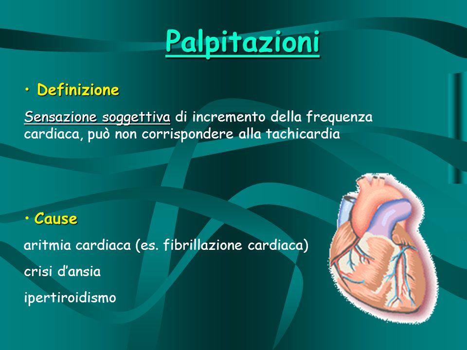 Palpitazioni Definizione Definizione Sensazione soggettiva Sensazione soggettiva di incremento della frequenza cardiaca, può non corrispondere alla tachicardia Cause aritmia cardiaca (es.