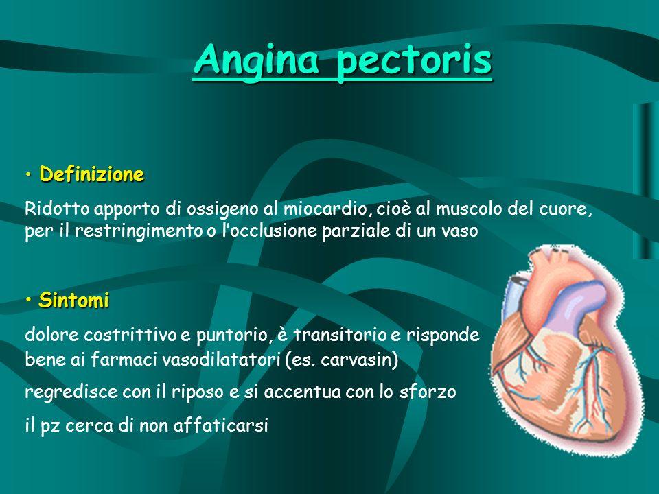 Angina pectoris Definizione Definizione Ridotto apporto di ossigeno al miocardio, cioè al muscolo del cuore, per il restringimento o locclusione parziale di un vaso Sintomi dolore costrittivo e puntorio, è transitorio e risponde bene ai farmaci vasodilatatori (es.