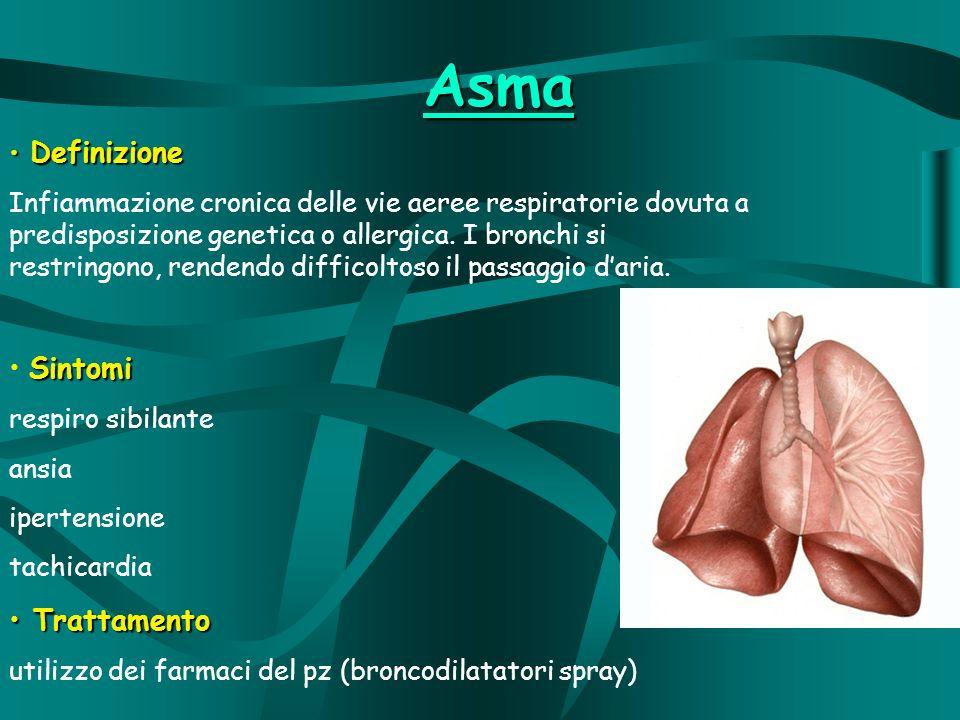 Asma Definizione Definizione Infiammazione cronica delle vie aeree respiratorie dovuta a predisposizione genetica o allergica.