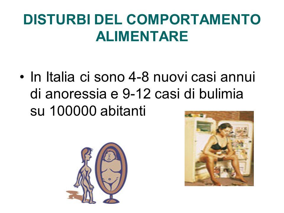 DISTURBI DEL COMPORTAMENTO ALIMENTARE In Italia ci sono 4-8 nuovi casi annui di anoressia e 9-12 casi di bulimia su 100000 abitanti