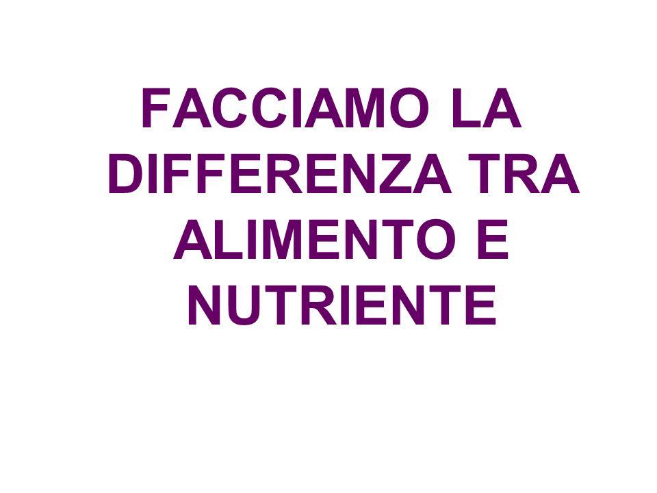 FACCIAMO LA DIFFERENZA TRA ALIMENTO E NUTRIENTE