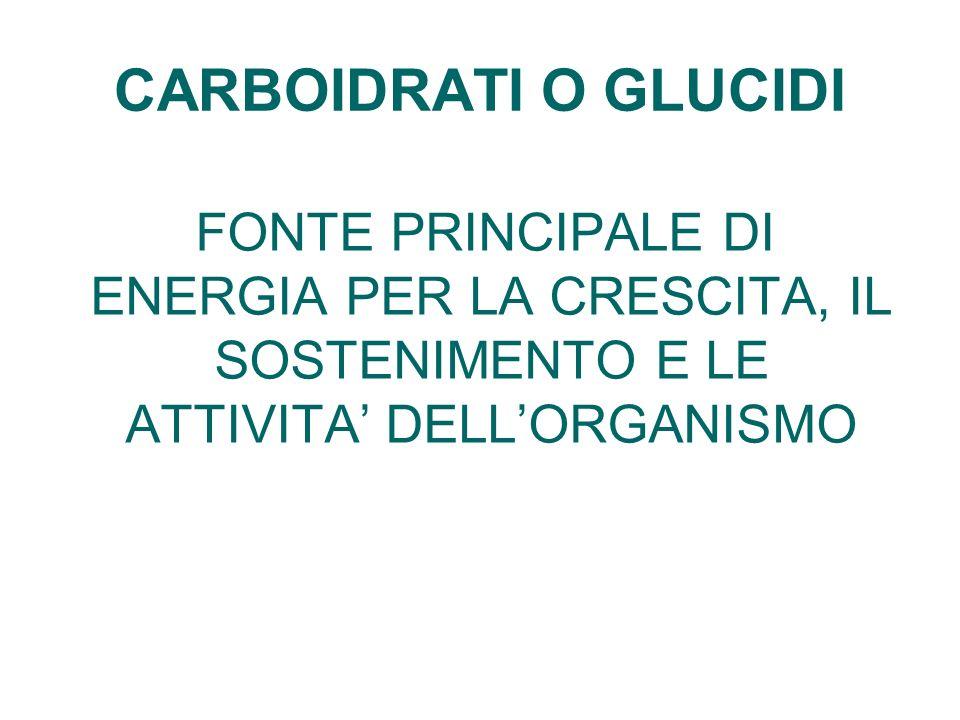 CARBOIDRATI O GLUCIDI FONTE PRINCIPALE DI ENERGIA PER LA CRESCITA, IL SOSTENIMENTO E LE ATTIVITA DELLORGANISMO