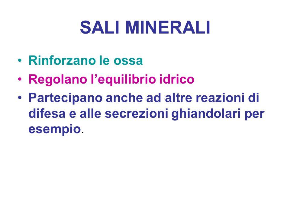 SALI MINERALI Rinforzano le ossa Regolano lequilibrio idrico Partecipano anche ad altre reazioni di difesa e alle secrezioni ghiandolari per esempio.