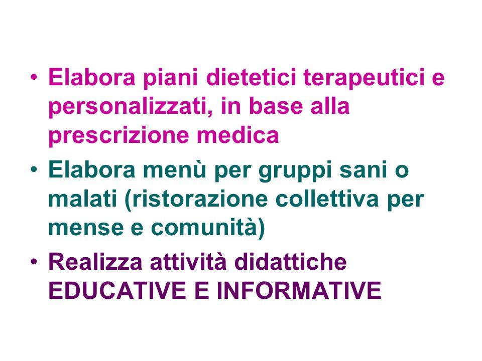 Elabora piani dietetici terapeutici e personalizzati, in base alla prescrizione medica Elabora menù per gruppi sani o malati (ristorazione collettiva