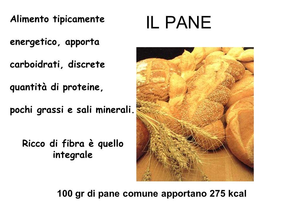 IL PANE 100 gr di pane comune apportano 275 kcal Alimento tipicamente energetico, apporta carboidrati, discrete quantità di proteine, pochi grassi e s
