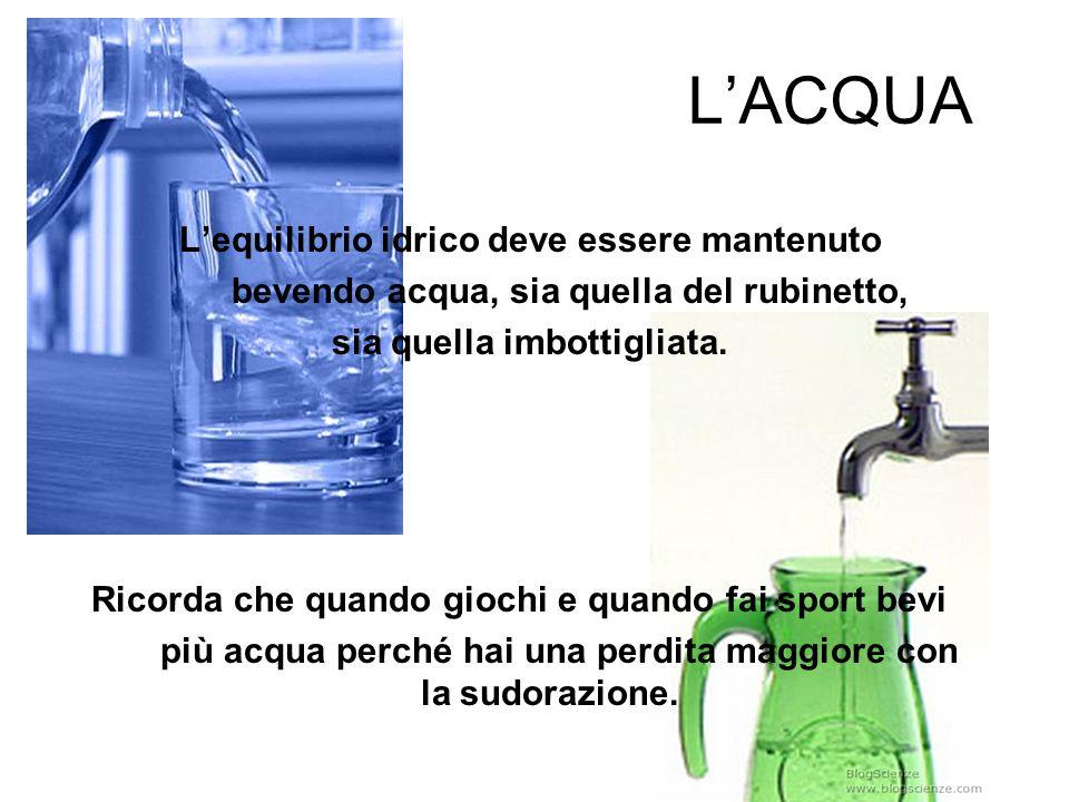 LACQUA Lequilibrio idrico deve essere mantenuto bevendo acqua, sia quella del rubinetto, sia quella imbottigliata. Ricorda che quando giochi e quando