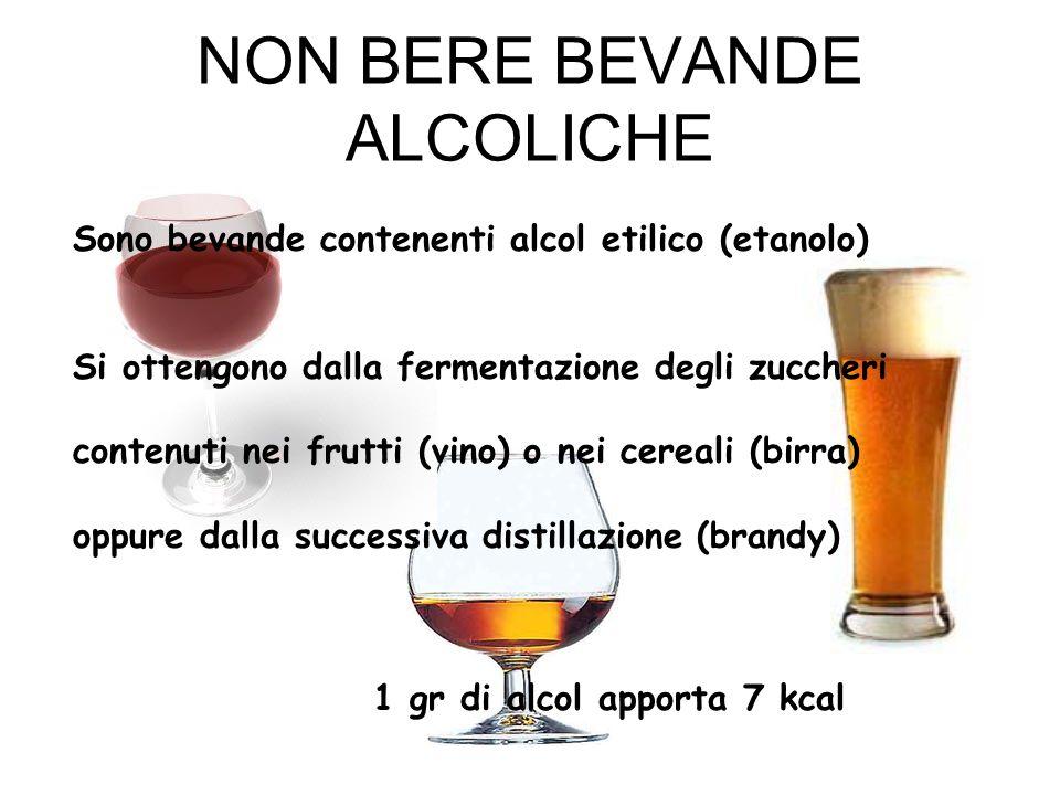 NON BERE BEVANDE ALCOLICHE Sono bevande contenenti alcol etilico (etanolo) Si ottengono dalla fermentazione degli zuccheri contenuti nei frutti (vino)