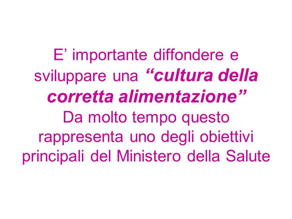 E importante diffondere e sviluppare una cultura della corretta alimentazione Da molto tempo questo rappresenta uno degli obiettivi principali del Min