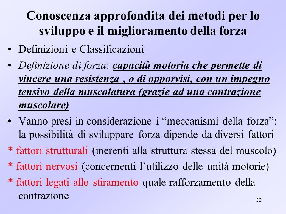22 Conoscenza approfondita dei metodi per lo sviluppo e il miglioramento della forza Definizioni e Classificazioni Definizione di forza: capacità moto