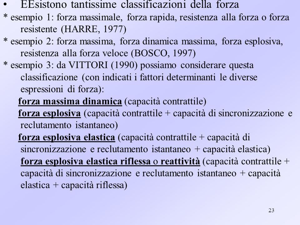 23 EEsistono tantissime classificazioni della forza * esempio 1: forza massimale, forza rapida, resistenza alla forza o forza resistente (HARRE, 1977)