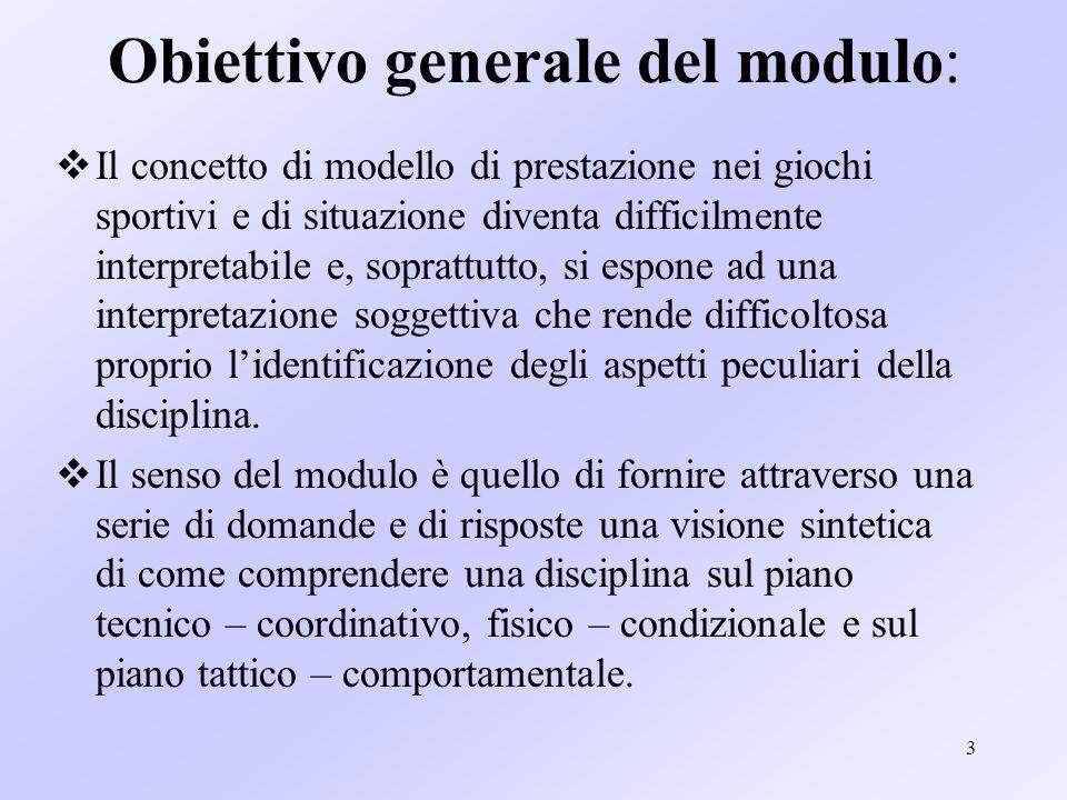 3 Obiettivo generale del modulo: Il concetto di modello di prestazione nei giochi sportivi e di situazione diventa difficilmente interpretabile e, sop