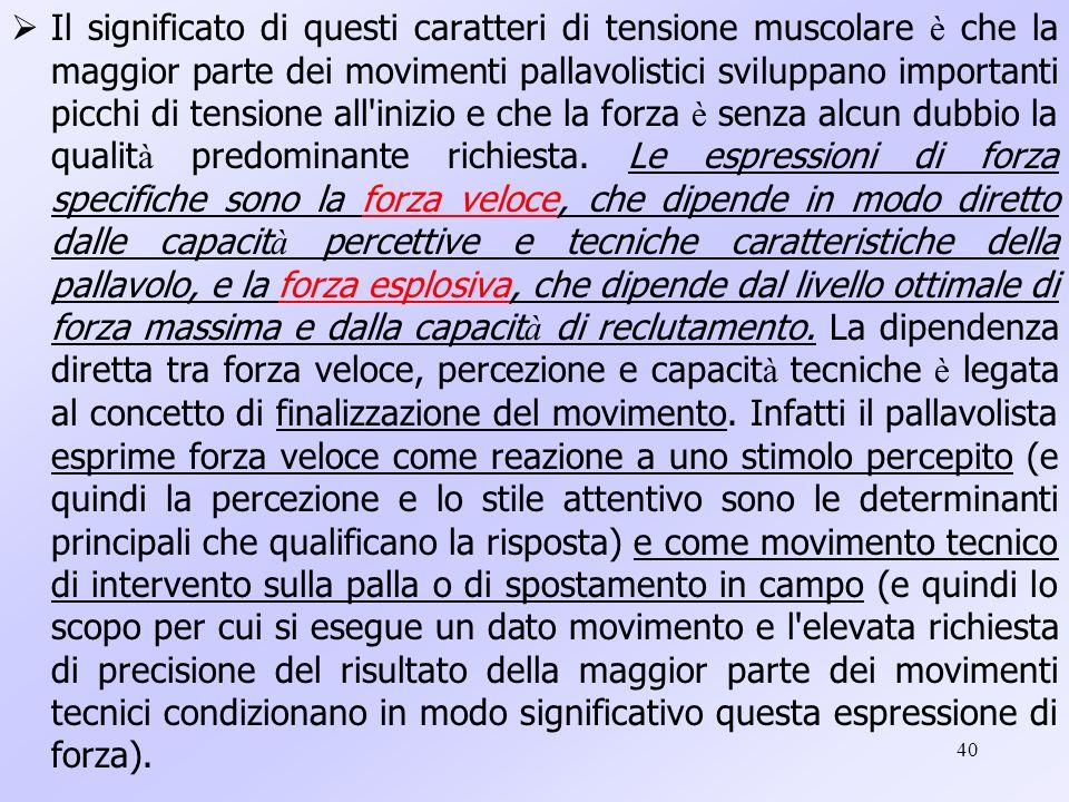 40 Il significato di questi caratteri di tensione muscolare è che la maggior parte dei movimenti pallavolistici sviluppano importanti picchi di tensio