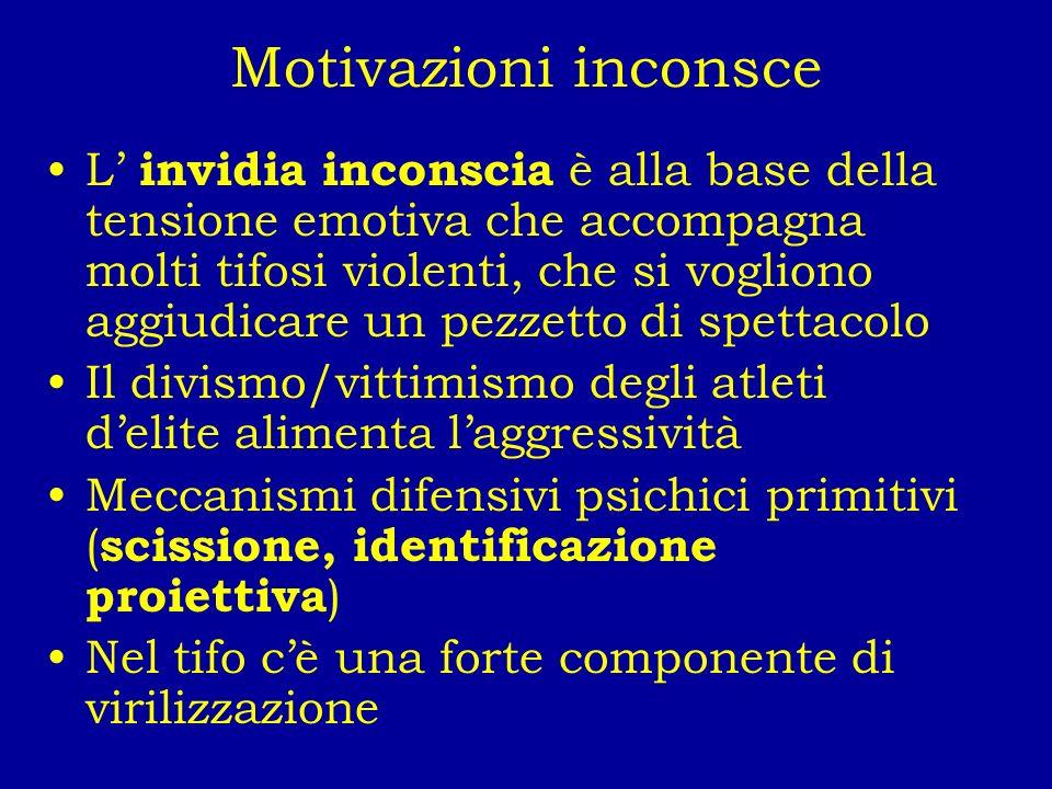 Motivazioni inconsce L invidia inconscia è alla base della tensione emotiva che accompagna molti tifosi violenti, che si vogliono aggiudicare un pezze