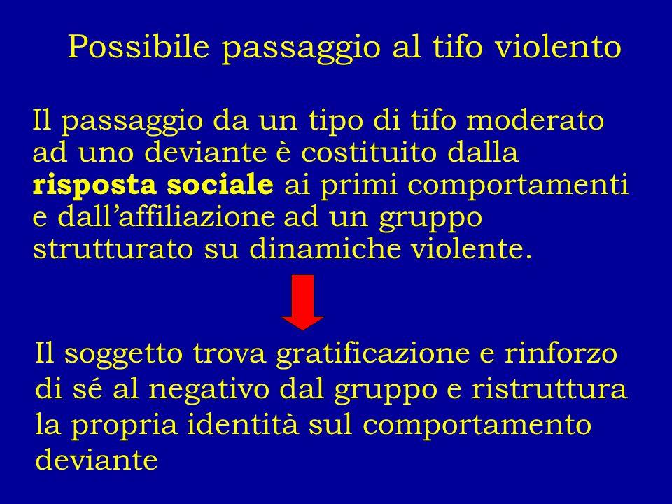 Possibile passaggio al tifo violento Il passaggio da un tipo di tifo moderato ad uno deviante è costituito dalla risposta sociale ai primi comportamen