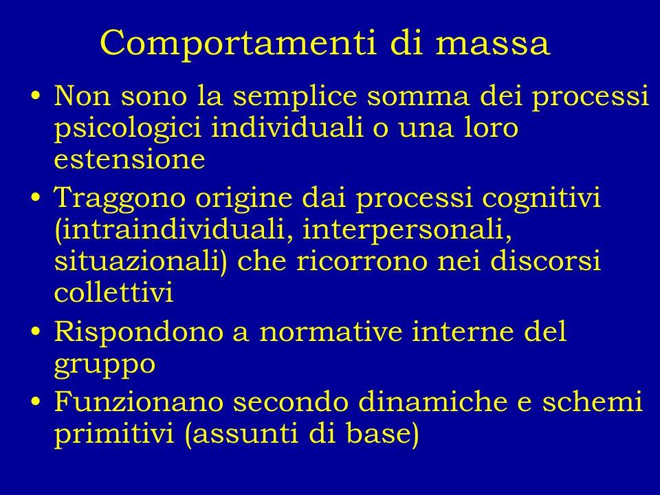 Comportamenti di massa Non sono la semplice somma dei processi psicologici individuali o una loro estensione Traggono origine dai processi cognitivi (
