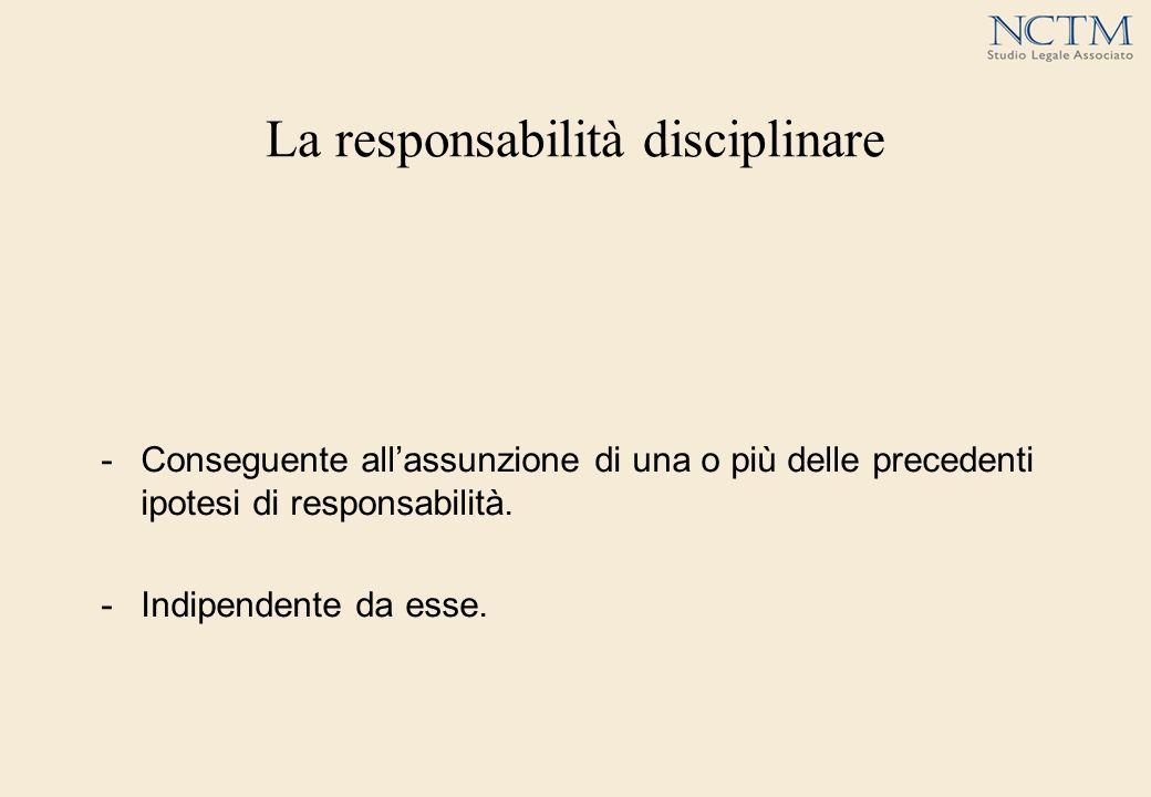 La responsabilità disciplinare -Conseguente allassunzione di una o più delle precedenti ipotesi di responsabilità. -Indipendente da esse.