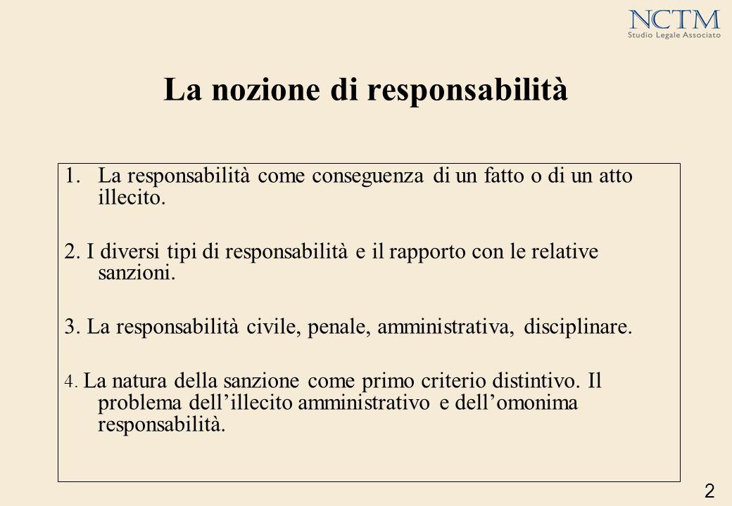 La nozione di responsabilità 1.La responsabilità come conseguenza di un fatto o di un atto illecito. 2. I diversi tipi di responsabilità e il rapporto