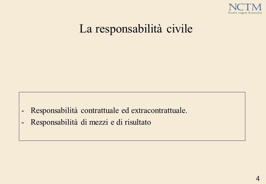 La responsabilità civile -Responsabilità contrattuale ed extracontrattuale. -Responsabilità di mezzi e di risultato 4