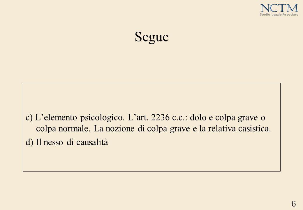Segue c) Lelemento psicologico. Lart. 2236 c.c.: dolo e colpa grave o colpa normale. La nozione di colpa grave e la relativa casistica. d) Il nesso di