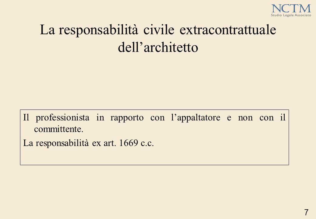 La responsabilità civile extracontrattuale dellarchitetto Il professionista in rapporto con lappaltatore e non con il committente. La responsabilità e