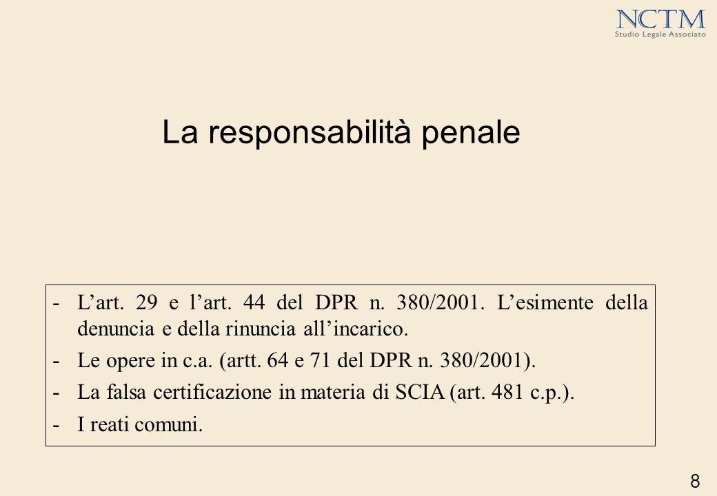 8 La responsabilità penale -Lart. 29 e lart. 44 del DPR n. 380/2001. Lesimente della denuncia e della rinuncia allincarico. -Le opere in c.a. (artt. 6