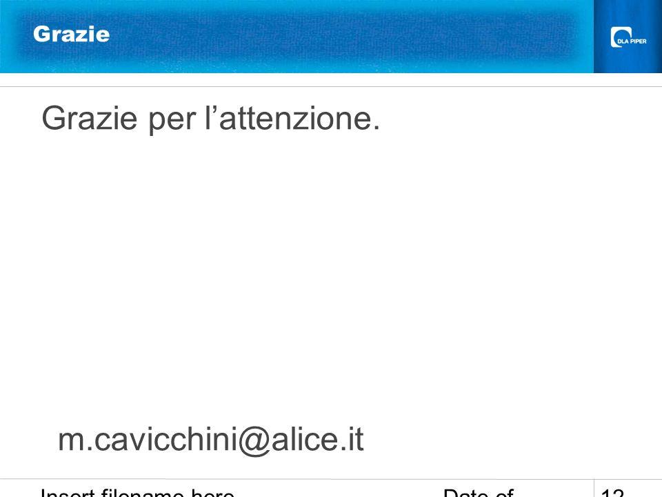 Date of presentation Insert filename here 12 Grazie Grazie per lattenzione. m.cavicchini@alice.it