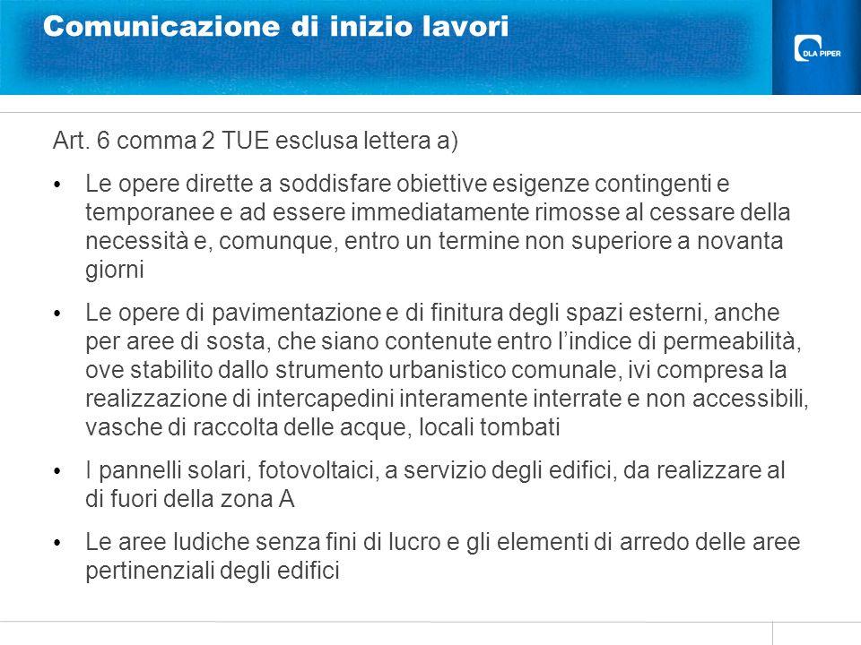 Comunicazione di inizio lavori Art. 6 comma 2 TUE esclusa lettera a) Le opere dirette a soddisfare obiettive esigenze contingenti e temporanee e ad es