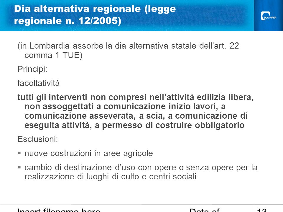 Date of presentation Insert filename here 13 Dia alternativa regionale (legge regionale n. 12/2005) (in Lombardia assorbe la dia alternativa statale d